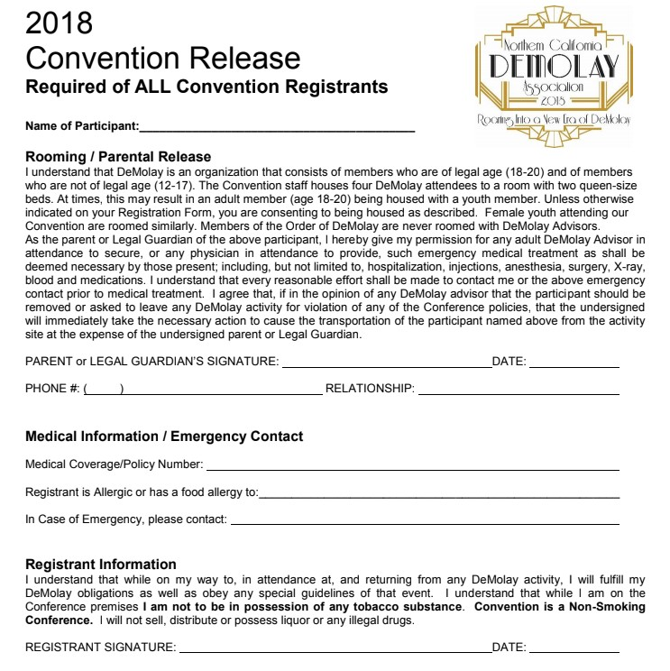 2018 Convention Release Form | Northern California DeMolay